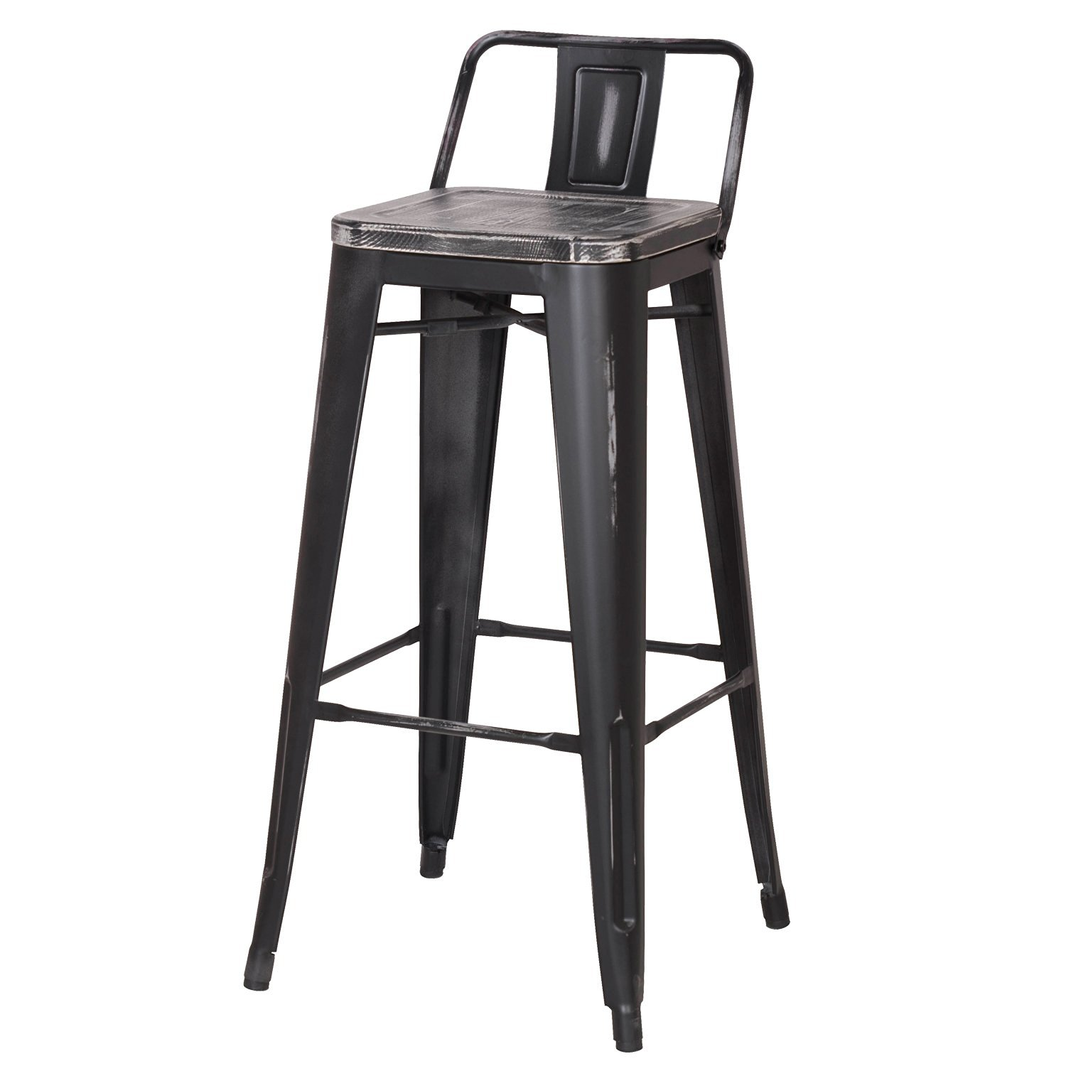 Decenthome Distresed Black Metal Bar Stools With Dark Wooden Seat