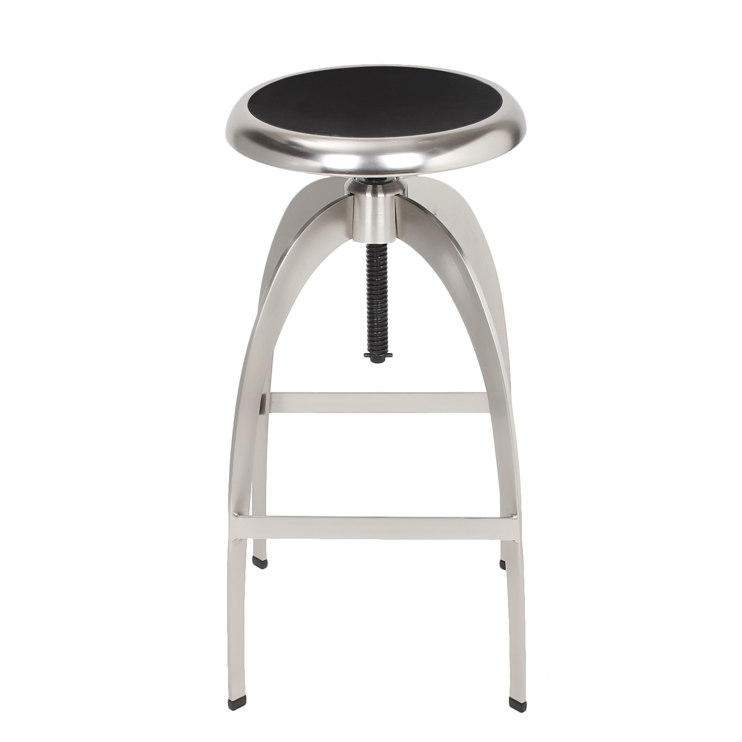Decenthome Decenthome Brushed Stainless Steel Adjustable Logan Metal Stool Single