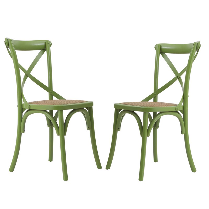 Green Elm Wood Vintage Style Dining Chairs (Set Of Two).