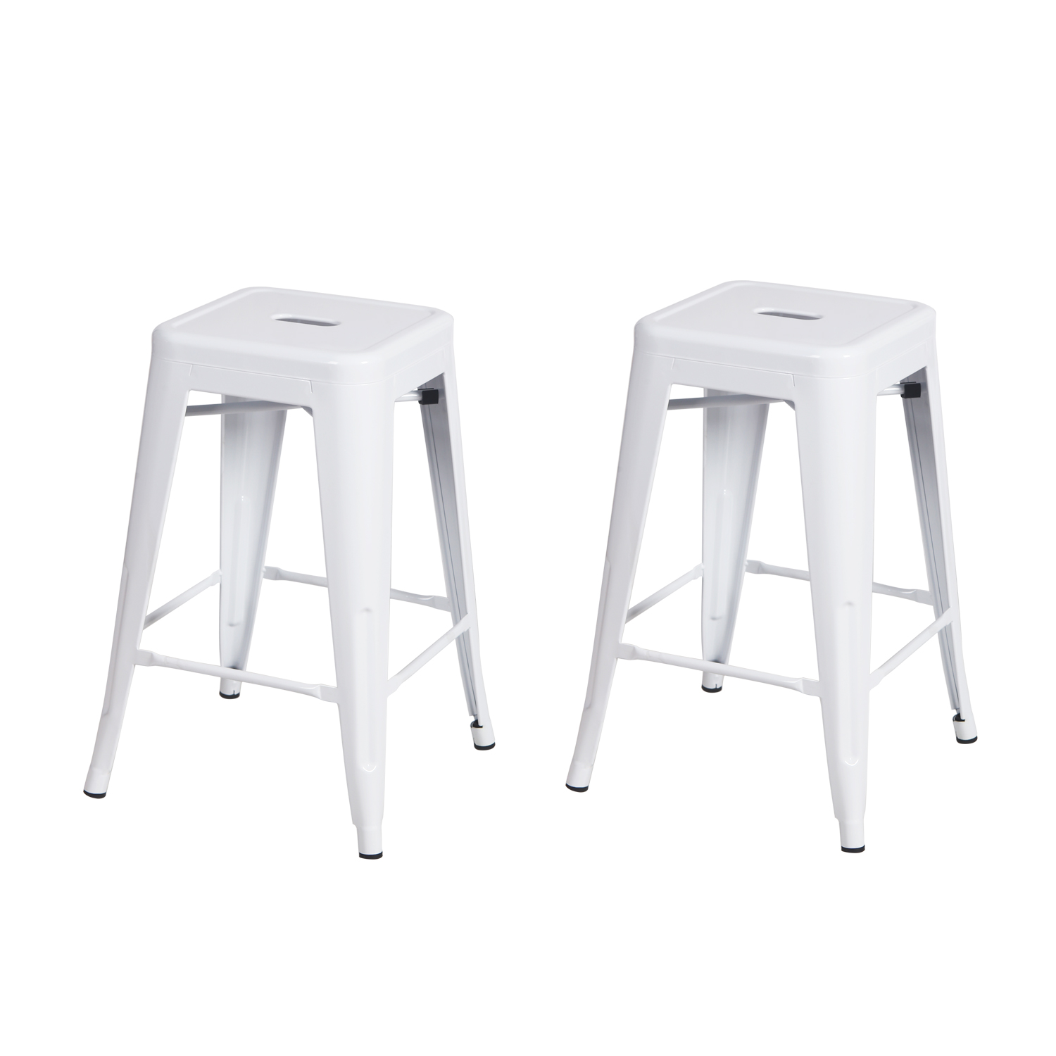 Decenthome Decenthome 24 Inch Glossy White Metal Tolix Style Chair