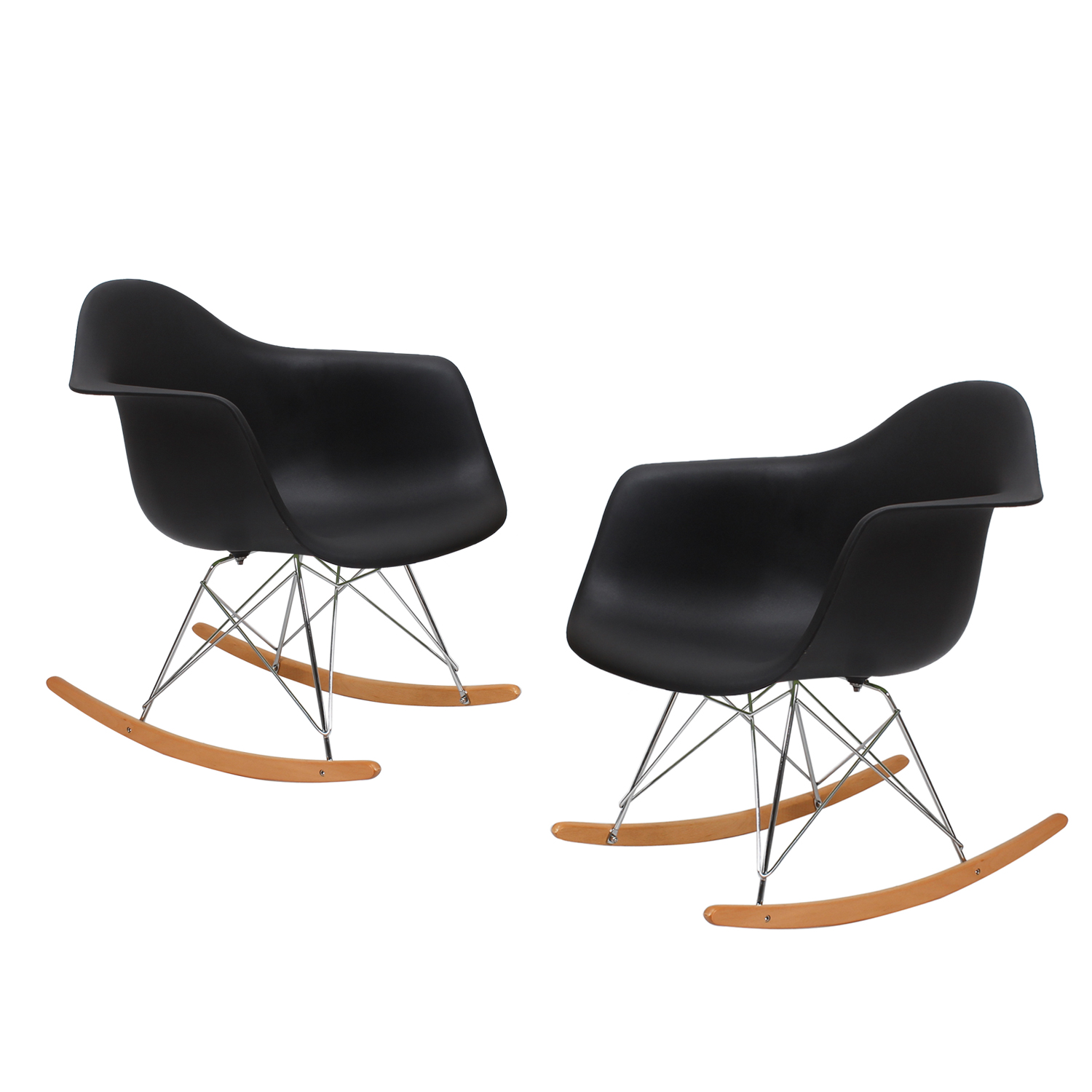 Decenthome Decenthome Black Charles Ray Eames Modern Rocking Chairs Armchairs With Beech Wood Rocker Ch0195 2 Ach195 2