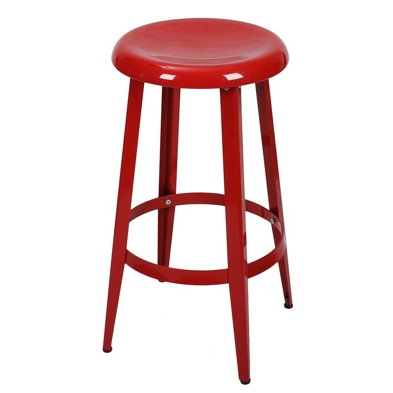 Decenthome Decenthome Red 26 Inch Metal Counter Stools Single