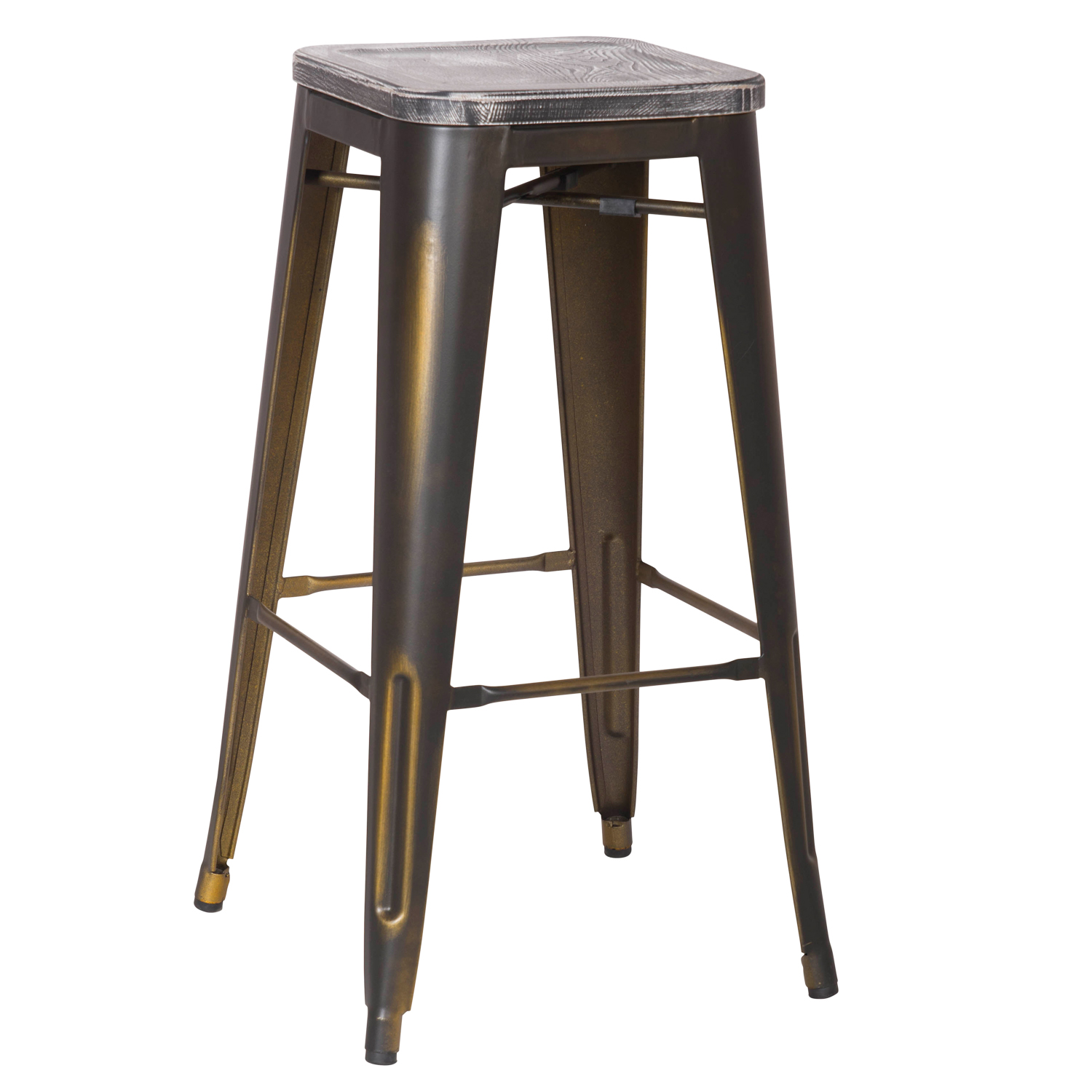 New Copper Metal Wood Counter Stool Kitchen Dining Bar: DecentHome Antique Copper Metal Bar Stools With Dark