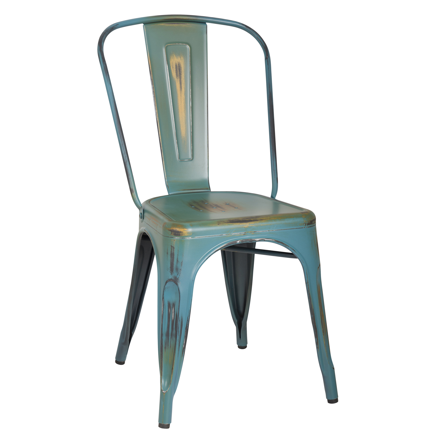 Elegant Stackable Distressed Metal Dining Chairs ...