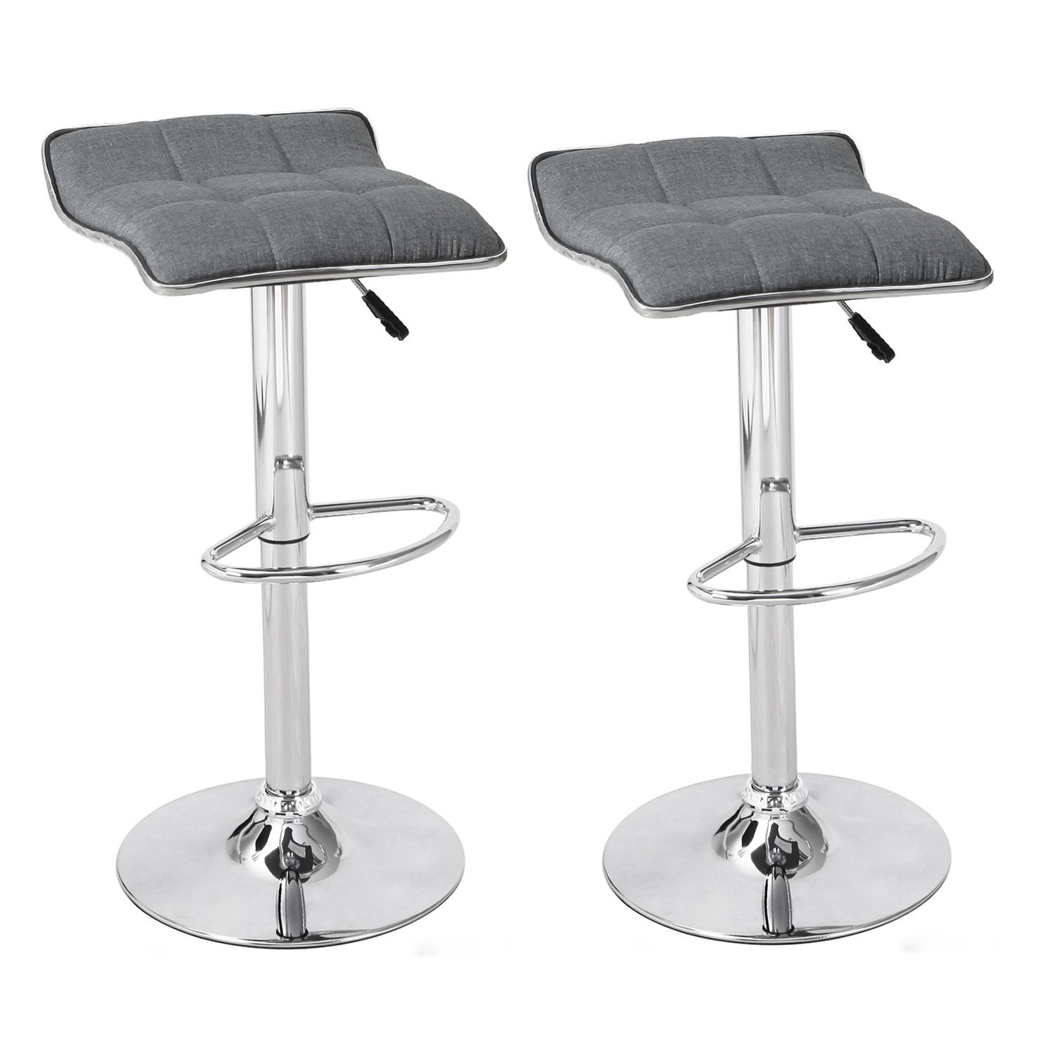Swell Decenthome Grey Fabric Backless Adjustable Bar Stools Set Of 2 Ch0292 Machost Co Dining Chair Design Ideas Machostcouk