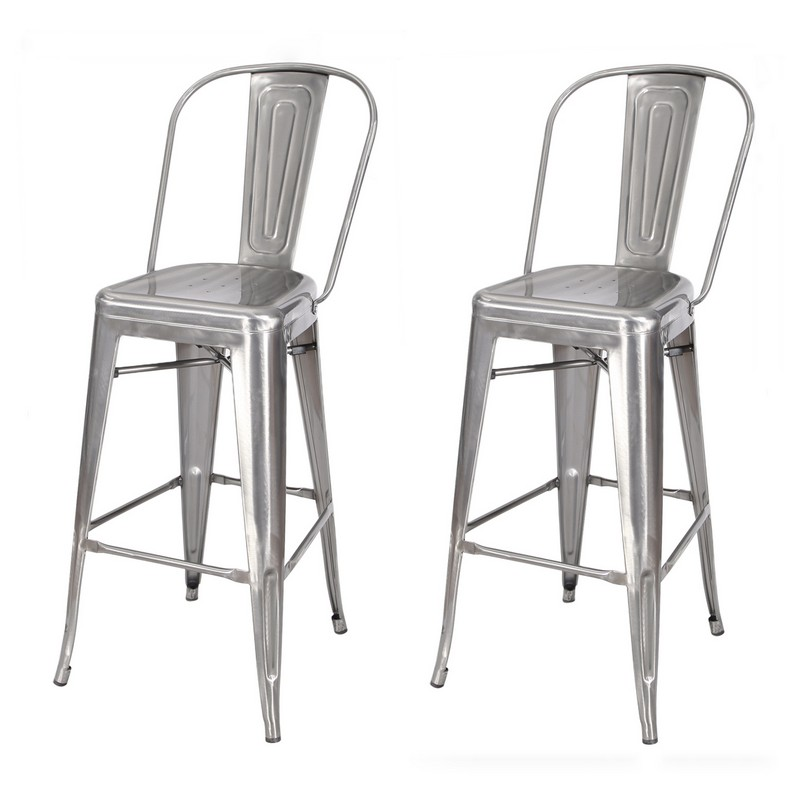 En 30 Inch Chic Metal Barstool Chair With High Back