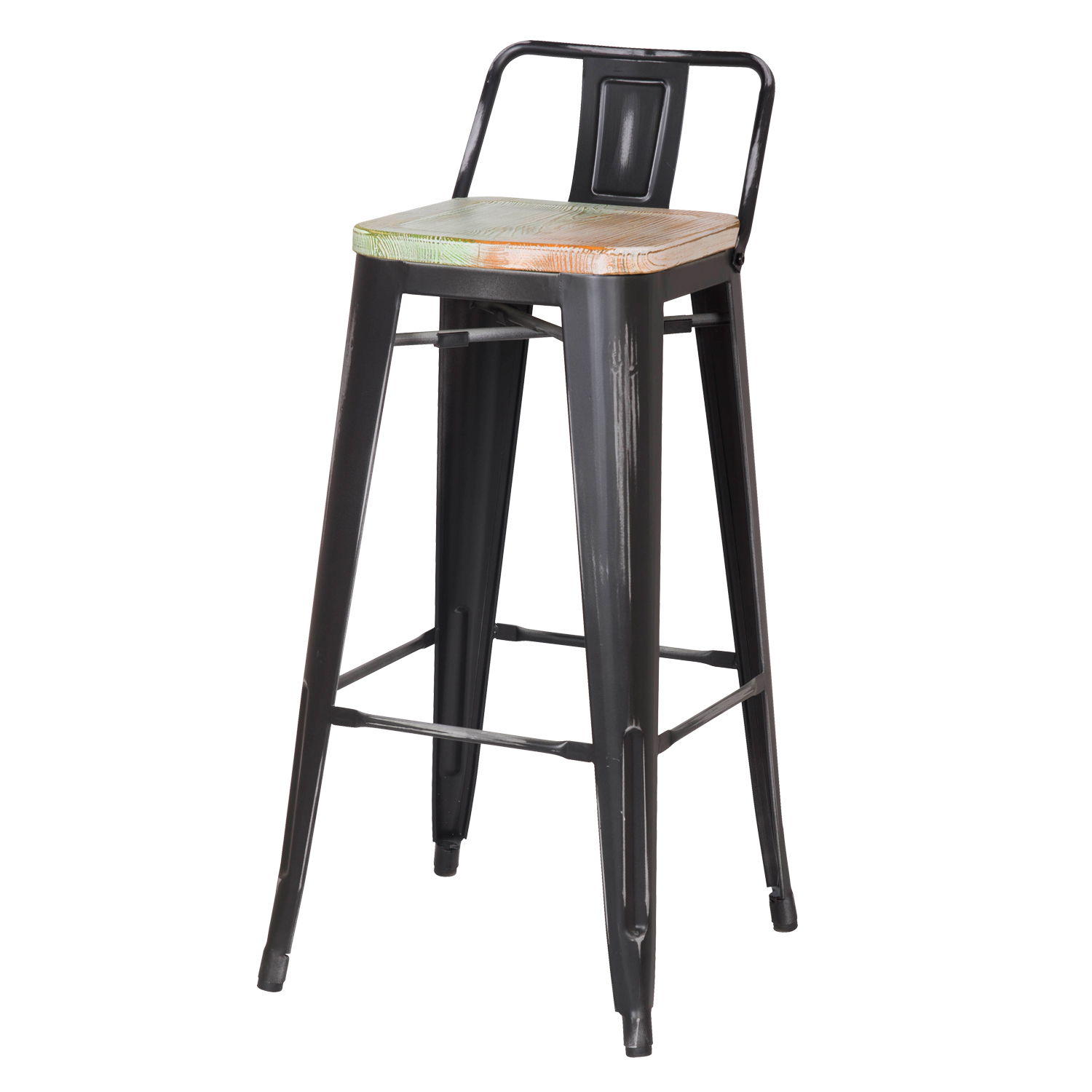 Surprising Decenthome Distresed Black Metal Bar Stools With Multi Color Wooden Seat Ch0276 2 Pabps2019 Chair Design Images Pabps2019Com