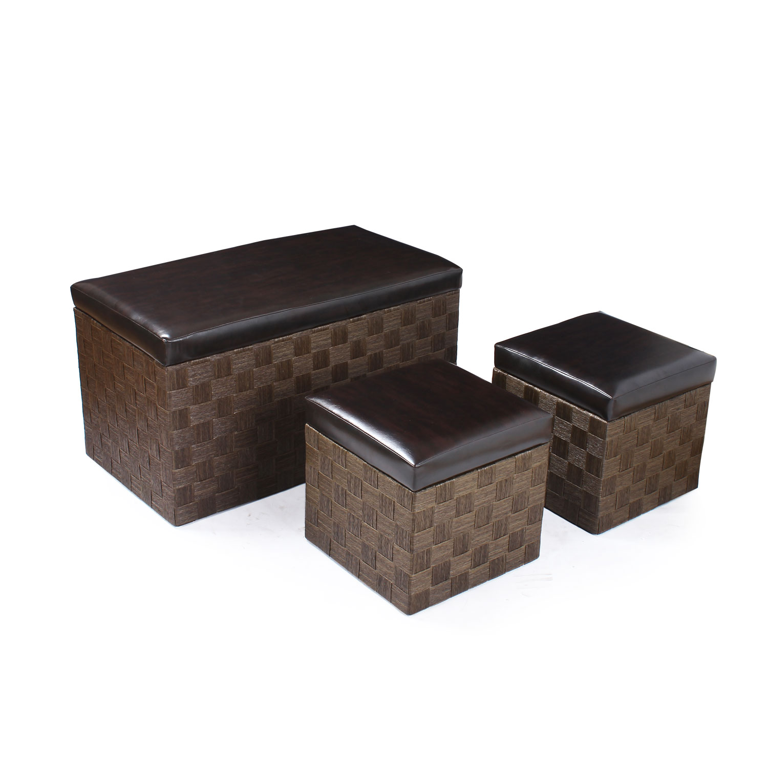Charming Storage Ottoman / Bench With Weaved Woven Body U0026 Black Faux Leather Lid  (Set Of ...