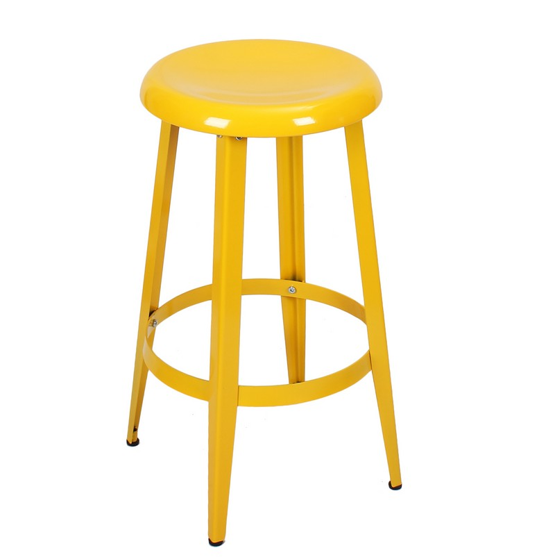Decenthome Decenthome Yellow 26 Inch Metal Counter Stools Single