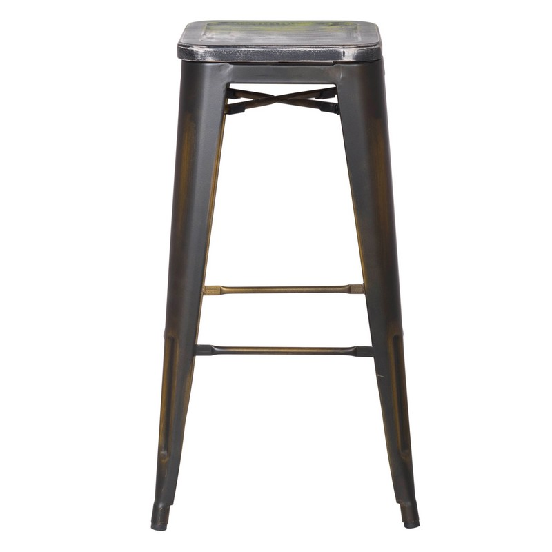 New Copper Metal Wood Counter Stool Kitchen Dining Bar: DecentHome Antique Copper Metal Bar Stools With Multi