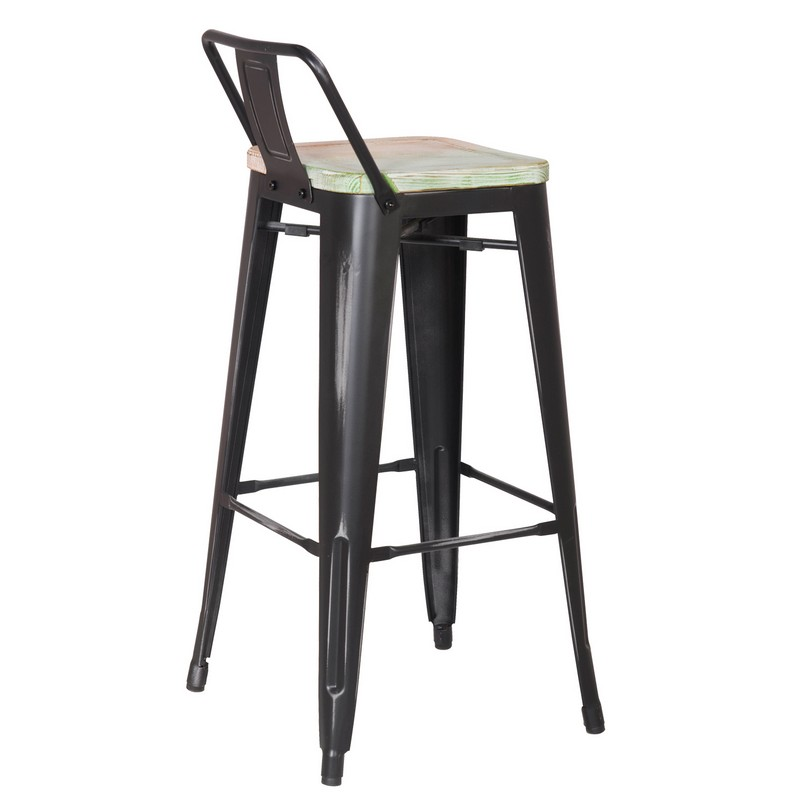 Decenthome Distresed Black Metal Bar Stools With Multi Color Wooden