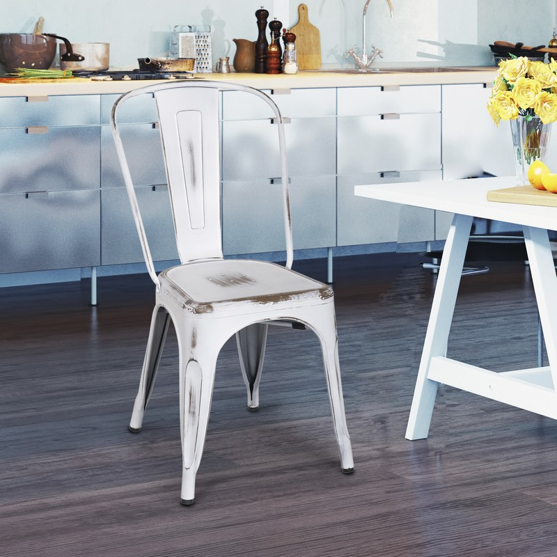 Decenthome Distressed White Metal Stacking Dining Chairs