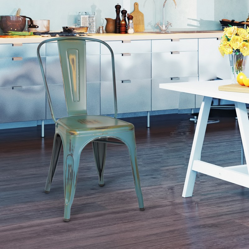 ... Stackable Distressed Metal Dining Chairs