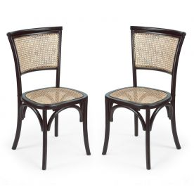 Elm Wood Antique-Inspired Dining Chair with Natural Rattan Back and Seat
