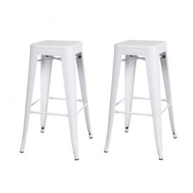 24 Inches Sheet Metal Frame Tolix Style Bar Stool - Set of 2 (30 Inches White)