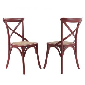 Elm Wood Dining Chair with Woven Rattan Seat
