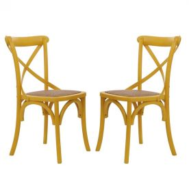 Yellow Elm Wood Vintage-Style Dining Chairs (Set of two)