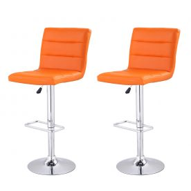 Orange Horizontal Tufting Leatherette Bar Stools (Set of two).