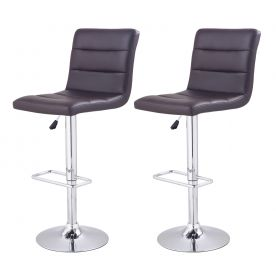 360 Degree Swivel Adjustable Hydraulic Lift Modern Bar Stool - Set of 2 - Set of 2 (Brown).