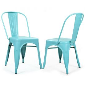 Blue Metal Stackable Industrial Chic Dining Chair  Outdoor and Indoor Set of Two