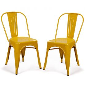 Sheetmetal Frame Tolix Style Bar Chairs with Back - Set of 2 (yellow)