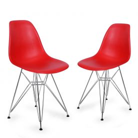 Red Charles & Ray Eame Modern Dining Chairs with Chrome Legs (Set of Two)