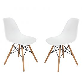 White Charles & Ray Eames¶ÿModern Dining Chairs with Birch Wood Legs (Set of Two)