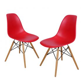 Red Charles & Ray Eames¶ÿModern Dining Chairs with Birch Wood Legs (Set of Two)