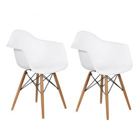 White Charles & Ray Eames¶ÿModern Dining Chairs / Armchairs with Birch Wood Legs (Set of Two)