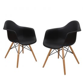 Black Charles & Ray Eames¶ÿModern Dining Chairs / Armchairs with Birch Wood Legs (Set of Two) - Free Shipping