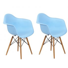 Light Blue Charles & Ray Eames¶ÿModern Dining Chairs / Armchairs with Birch Wood Legs (Set of Two)