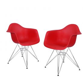 Red Charles & Ray Eames Modern Dining Chairs / Armchairs with Chrome Legs (Set of Two)