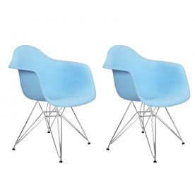 Light Blue Charles & Ray Eames Modern Dining Chairs / Armchairs with Chrome Legs (Set of Two)