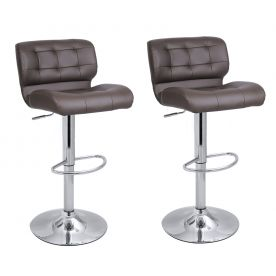 Adjustable Barstool Chair with Chrome Finish Pedestal Base ( set of two)