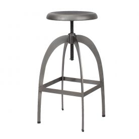 Gunmetal / Antique Gray Adjustable Logan Metal Stool (Single)