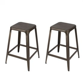 Metal Stackable Tolix Style Square Top Backless Barstools