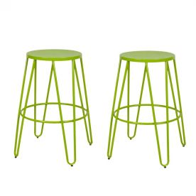 Metal Stackable Round Top Backless Barstools