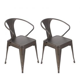 Bronze Natural Patina Powder Coat Finish Metal Chair (Set of Two)