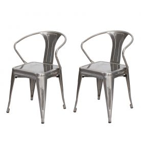 Vintage Style Metal Stackable Cruve Armrest Chairs