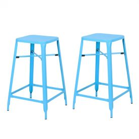 Metal Stackable Square Top Backless Barstools