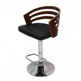 Black PU Leather Adjustable Bar Stool with Open Back.
