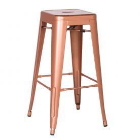 24/30 Inches Sheet Metal Frame Tolix Style Bar Stool - Set of 2 (30 Inches Copper)