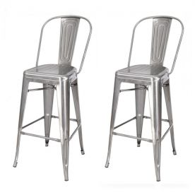 {[en]: 30 inch Industrial Chic Metal Barstool Chair With High Back