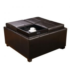 "Brown Bonded Leather Square Storage Ottoman Footstool with 4 Serving Trays 35.5""."