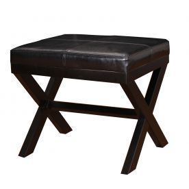 "Black Bonded Leather Contrast Stitch Ottoman Footstool with X-Shaped Legs 19.25x16.5""."