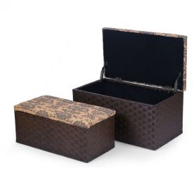 Fabric Storage Ottoman Bench with Printing Flower Lid