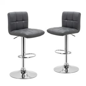 360 Degree Swivel Adjustable Leatherette Barstool - Set of 2 (Grey)