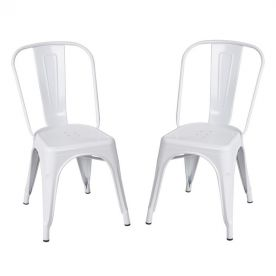 Sheetmetal Frame Tolix Style Bar Chairs with Back - Set of 2 (white)