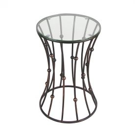 Black Accent Metal Curve Shaped Round End Table with Glass Top