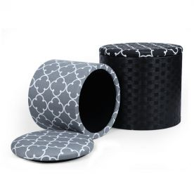 Grey & Black Quatrefoil Designed Fabric Round Storage Ottoman